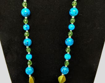 Blue and Green Stone Beaded Necklace