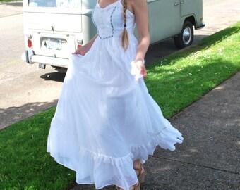 Vintage White Maxi Dress Prairie Dress