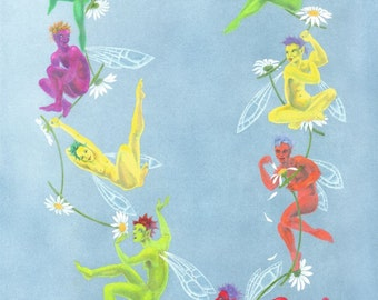 Original art: 'Daisy Chain'- Fairy painting for summer in gouache, by Nancy Farmer (unframed)