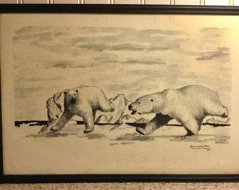 Vintage, Florence Melewotkuk, Bering Sea Original, Polar Bears, Alaska Art