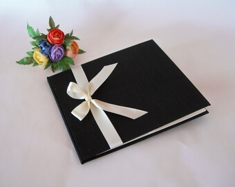 Lined guest book -  black silk with ivory satin ribbon - 8x9in 20x23cm - Ready to ship