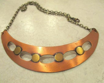 Vintage Copper Crescent Punched Pendant Necklace Tribal Jewelry