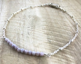 layering bracelet - silver- lavender aventurine // dainty, minimalist, simple