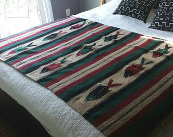 "FISH Mexican Southwestern Blanket / 1980s / 78"" x 46"" / saddle throw"