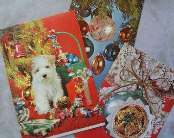 Vintage Mid Century Kitsch Real Photo Christmas Cards Unused & Used
