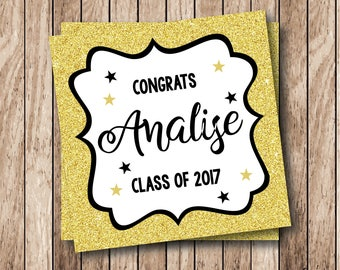Printable Faux Gold Glitter Graduation Tags, Printable Glitter Tags, Class of 2017 Tags