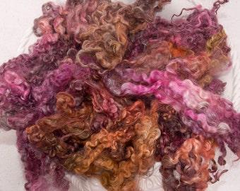 Hand dyed locks, curls, Leicester Long Wool locks, 100g, shearling, dolls hair, locks, English fleece, spin, felting, Copper, Purple, Orange