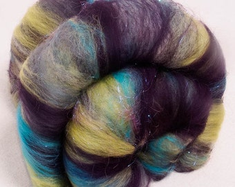 Hand Carded Batts, smooth soft batts, Extrafine Merino, Angelina sparkles, Spinning fibre, felting, 110g, colour; Andromeda
