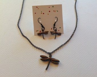 Gunmetal Dragonfly Necklace and Earring Set