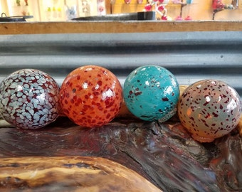 """Speckled Floats, Set of Four, 2.5""""-3.5"""" Decorative Glass Pond Floats, Blown Glass Garden Balls with Colorful Spots by Avalon Glassworks"""