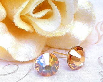 Golden Shadow stud earrings, Swarovski crystal golden shadow studs, 7mm studs