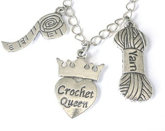 Love to crochet necklace, crocheter charm necklace, yarn, hobby jewelry, antiqued silver