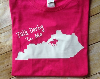 Pink  Kentucky Derby V-neck t-shirt, try blend tee, Kentucky state shirt, Talk Derby to me