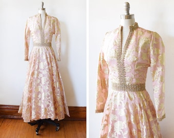 60s metallic brocade dress, vintage 1960s floral  gown, pink and gold lurex party dress, pink metallic gold rhinestone maxi dress, small s