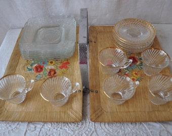 Vintage Glass Tea Set With Tray/Vintage 1940s 50s/Child's Tea Party/Six Petite Depression Glass Cups & Saucers, Six EAPG Dessert Plates