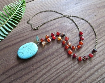 Turquoise and Red Agate Boho Necklace
