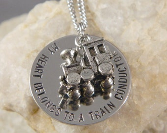 My Heart Belongs to a Train Conductor Handstamped Necklace