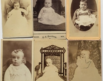 1870's CDV PHOTOGRAPHS of BABIES -- Some Michigan Backmarks