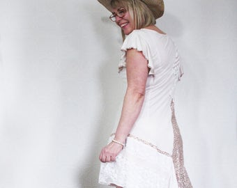 upcycled clothing, dress . meadow song . M