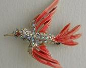 60s Firery Orange Enamel and Aurora Borealis Rhinestones Bird in Flight Pin Brooch Hummingbird Pin