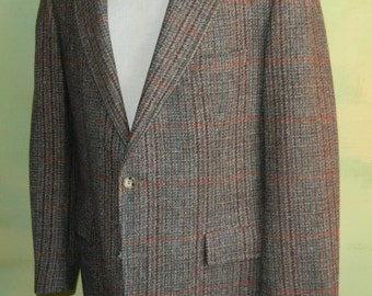 40 Vintage 80s Pendleton Glen Plaid Wool Tweed Jacket Sport Coat Blazer Made in the U.S.A. Wine Brown and Blue