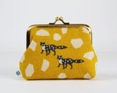 Metal frame purse - Echino foxes on yellow - Deep dad / Japanese fabric / geometric stones / grey foxes