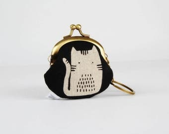 Keychain purse - Cats on black - Big Lillipurse / Metal frame coin purse / Maker Maker / Sarah Golden / Black and white / Hot pink