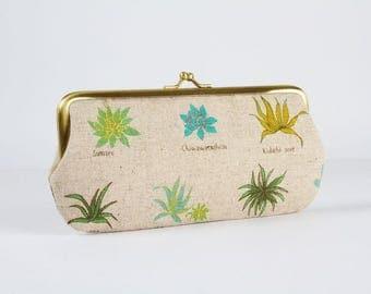 Eyeglass frame purse - Succulent - Long purse / Eyeglass fabric case / Cell phone holder / Japanese fabric / Houseplant / green blue mint