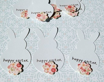 "hoppy easter bunny tag white shimmer cardstock 3"" tall"