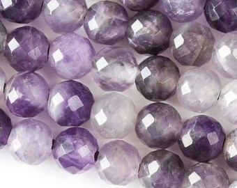 Faceted Large Hole Amethyst 10mm Round with a 2.5mm Drilled Hole