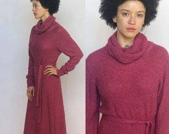mother nature's daughter -- vintage 60s knit wool supersoft dress with tassel belt M/L