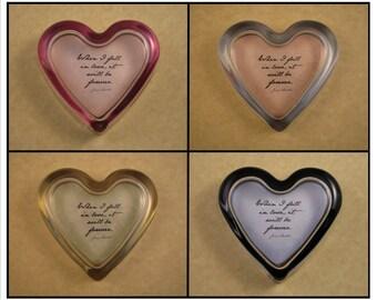 Jane Austen Fall In Love Quote Pastel Glass Heart Paperweight Wedding Anniversary Gift