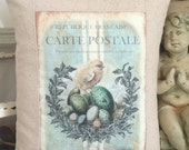 Vintage Chick and Nest Carte Postale Shabby Chic Pillow Cover with Pillow Form, Vintage Easter Throw Pillow, Cottage Cushion