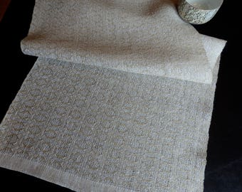 Handwoven Linen Table Runner Dresser Scarf White and Natural