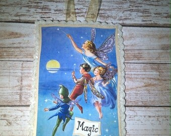 Fairy Magic Greeting Card Glittered Plaque With Ribbon Hanger