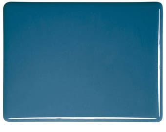 Steel Blue Opalescent Glass 90 COE Bullseye Sheet Large Pieces