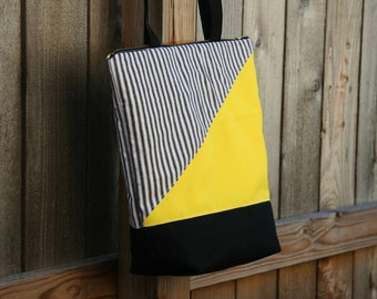 Black and Yellow-Heavy Duty Insulated Lunch Bag-Tote-Eco-Friendly and Washable-Water and Mildew Resistant Interior -Extra Large-Tall Size