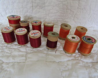 Vintage Wood Thread Spools Lot of 12 wooden thread spools textile thread