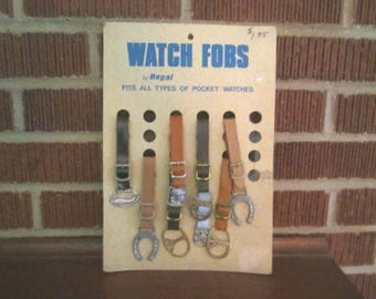 Vintage 1960s Store Display Card with 8 NOS Pocket Watch Fobs