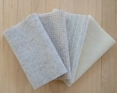 """Hand Felted Wool, SAND DOLLAR, Light Neutral Textures, Four 6.5"""" x 16"""" pieces for Rug Hooking, Applique and Crafts"""