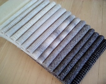 """Felted Wool, Grayscale Essentials, 16 pieces in Black, Grey and White, 6.5"""" x 16"""" each, Perfect for Rug Hooking, Applique' and Crafting"""