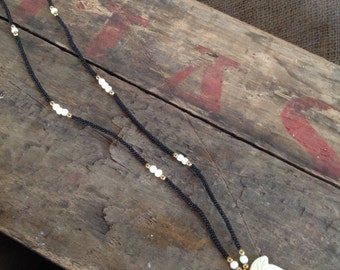 VINTAGE LEAF NECKLACE - vintage necklace- vintage beads- cool old piece