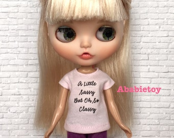 New - lt Pink Cotton Jersey T-Shirt for Blythe - So Classy