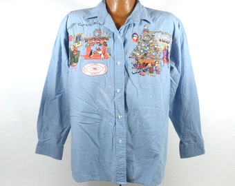 Ugly Christmas Sweater Vintage 1990s Denim Chambray Shirt Women's