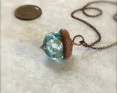 Glass Acorn Necklace - Victorian Turquoise - by Bullseyebeads