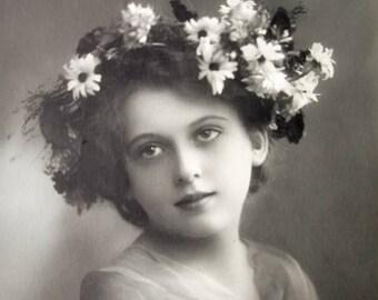 Antique pretty girl photo postcard, Antique French flower girl photo postcard, Antique French girl RPPC, Pretty girl RPPC