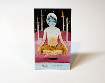 Four of Swords - Original Watercolor Painting - Tarot Card