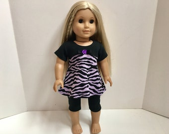 18 Inch American Made Girl Doll Clothes - 2 Pc Purple Zebra Outfit