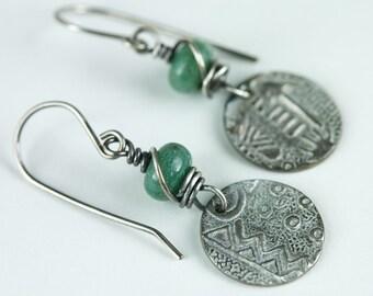 Silver Tribal Assymmetrical Earrings, Oxidized Fine Silver, African Jade