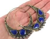 ON SALE Hoop Earrings, Blue Earrings, Lapis Lazuli Stone, Big Hoops, Gypsy Earrings, Kuchi, Ethnic Jewelry, Tribal Afghan, Boho, Bohemian, L